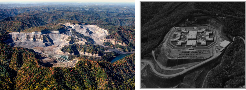 (left) Active Mountaintop removal mining on Guyandotte Mountain, West Virginia.   (right) Red Onion State Prison supermax facility in Pound, VA built on former mining site