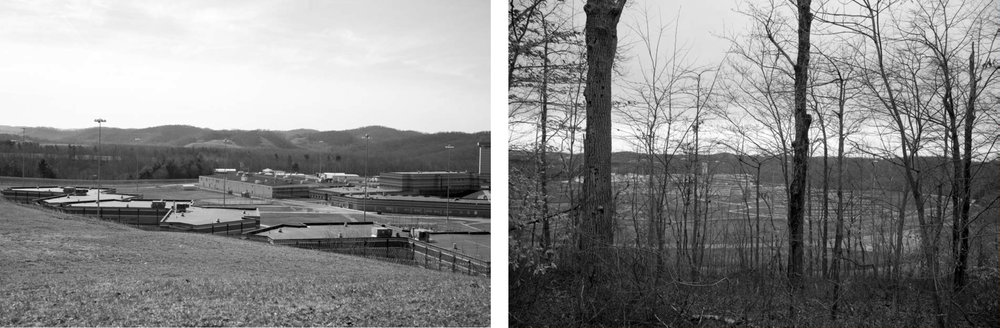 Mount Olive Correctional Complex outside of Mount Olive, West Virginia, built on the former site of Bullpush Mountain. (Research photographs, J. Becker).