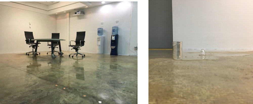 Please Enjoy a Drink Fresh from the Mountains,  2018  (left) Installation detail  (right) Installation detail showing water bubbling up through the floor from basement level of the installation.