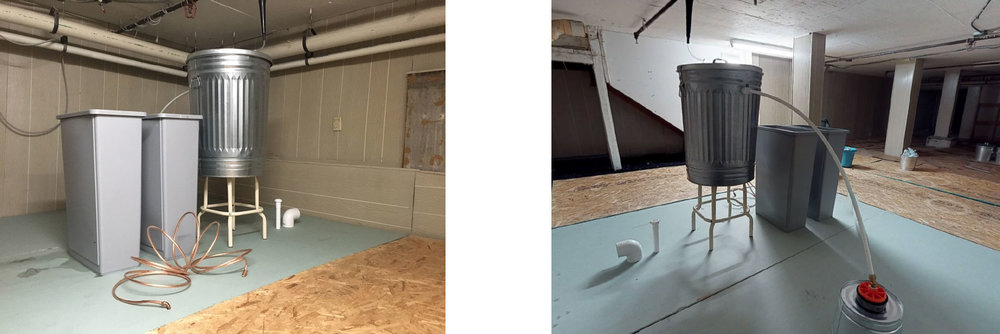 Please Enjoy a Drink Fresh from the Mountains , 2018.   (left) Installation detail of sculpture in basement level of the installation that pumps water to the ground floor (right) installation view of basement level.