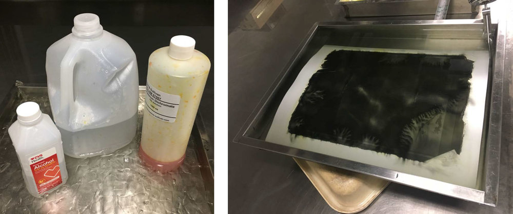Experiments testing chemistry and printing surfaces for the coal printing process.