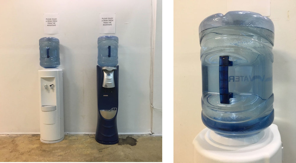 Please Enjoy a Drink Fresh from the Mountains,  2018  (left) Installation detail showing office water dispensers re-purposed for the installation (right) Installation detail