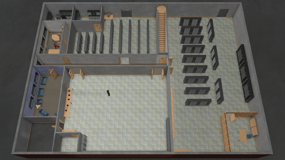 Floor layout for servicing facility