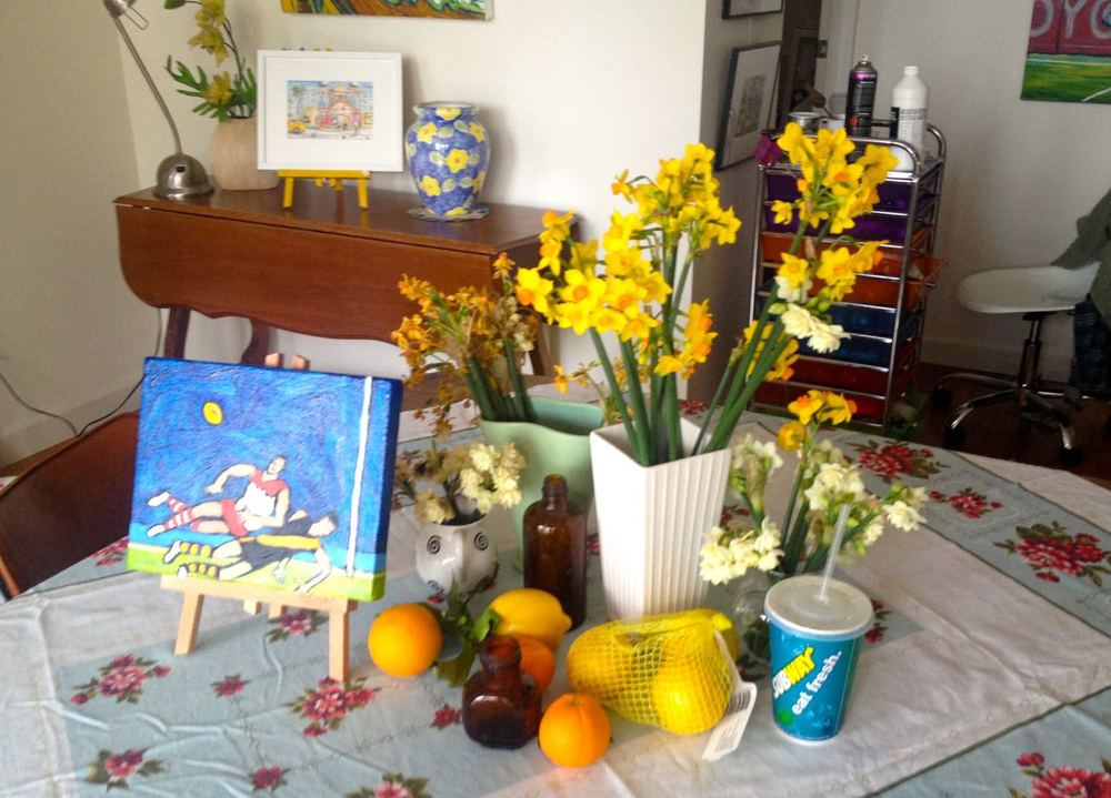 June Studio  Footballers, Flowers, Oranges and Lemons