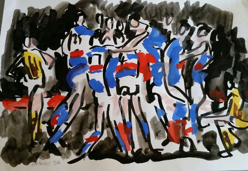 ink and watercolour on paper  sketched as I watched and listened radio and TV  sold