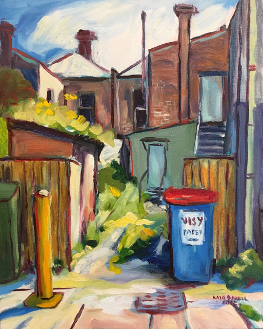 Lane way with Blue Bin  Oil on canvas  51cmH x 41cmW 2016  $445 framed