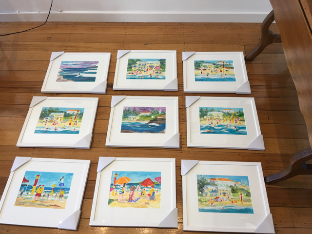 Seaside Frolic 2016/17 Acrylic paintings on A4 Canvas paper