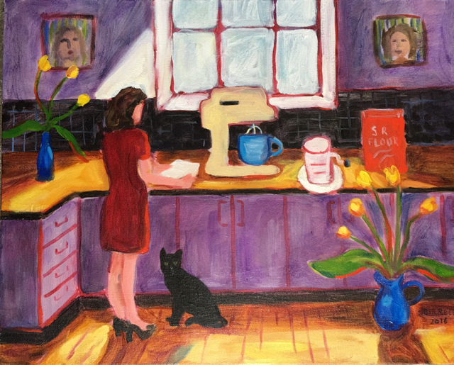 Kitchen Scene with new Mixmaster oil on canvas 50cm x 40cm