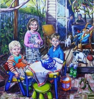 Young Family with Toys and Dogs and other Things
