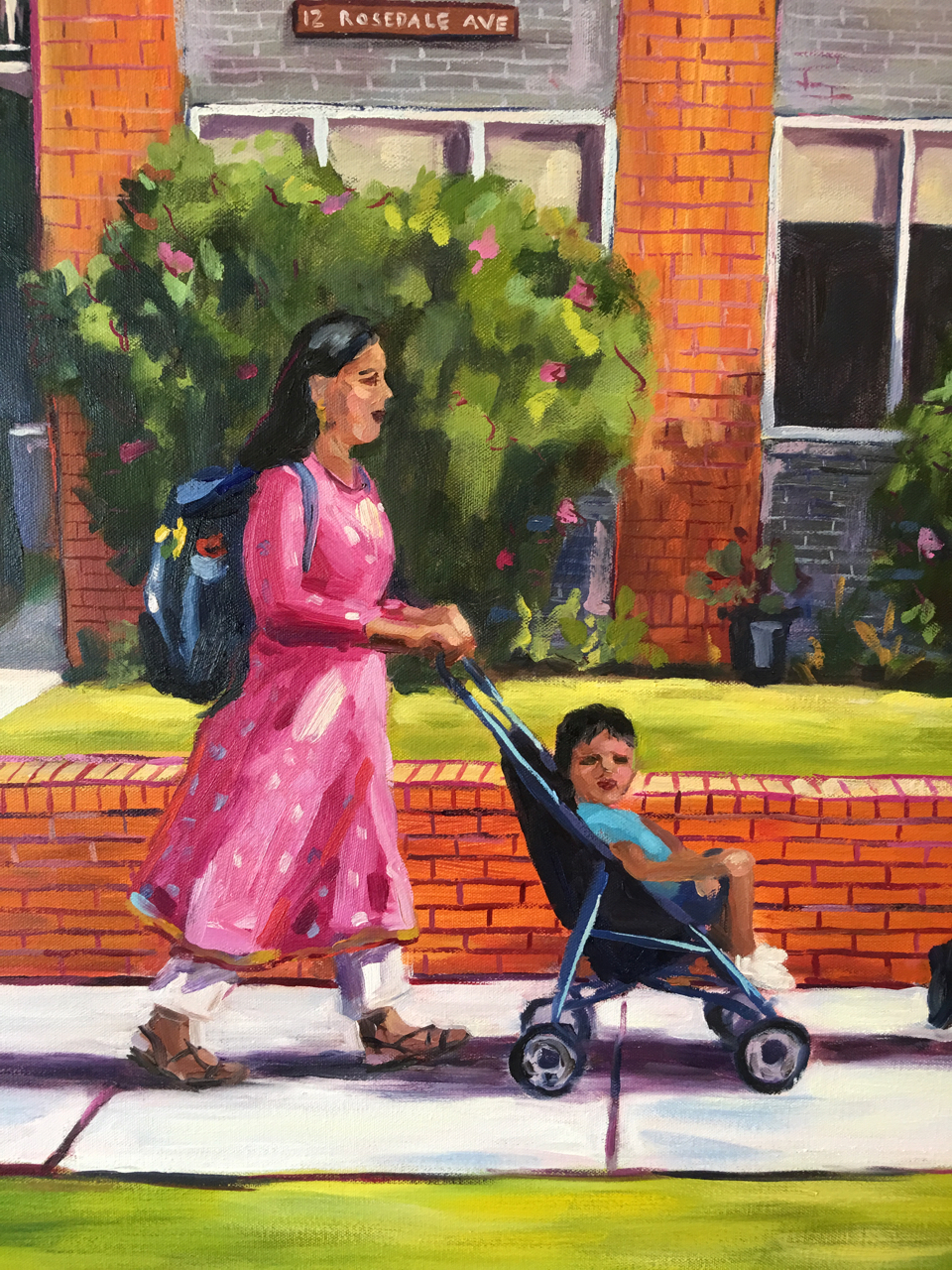 detail from a recent painting After School, Glen Huntly Street Scene Oil on Canvas 76cmW x 100cmH 2017