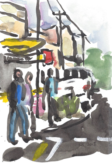 Royal Avenue, East Corner  ink and water colour on paper  13.5cmW x 19cmH  2018