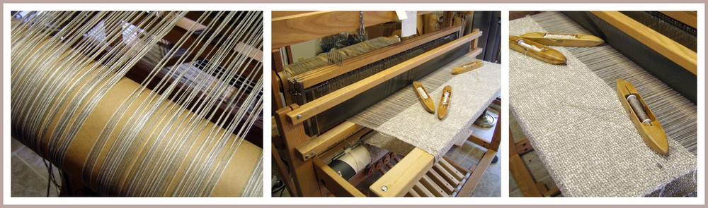 Scenes from one of Kathleen's two very busy looms!