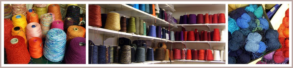 Kathleen's studio is awash with color.  Shelves filled with spools of yarn adorn the walls, and tables are filled with baskets of overflowing rainbows.
