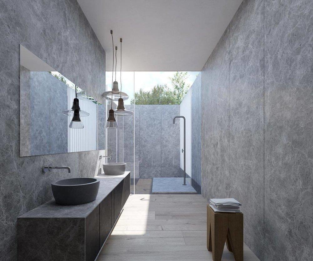 Bathroom in Ko House. (Courtesy of  Pitsou Kedem Architects )