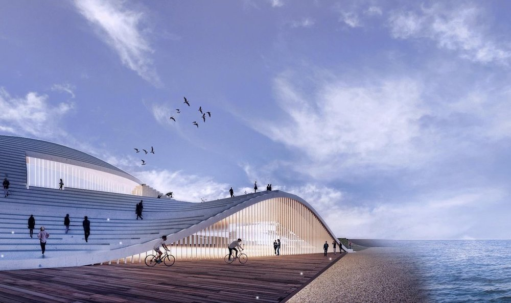 Proposal for commercial center on the beach of Herzliya. (Courtesy of  Pitsou Kedem Architects )
