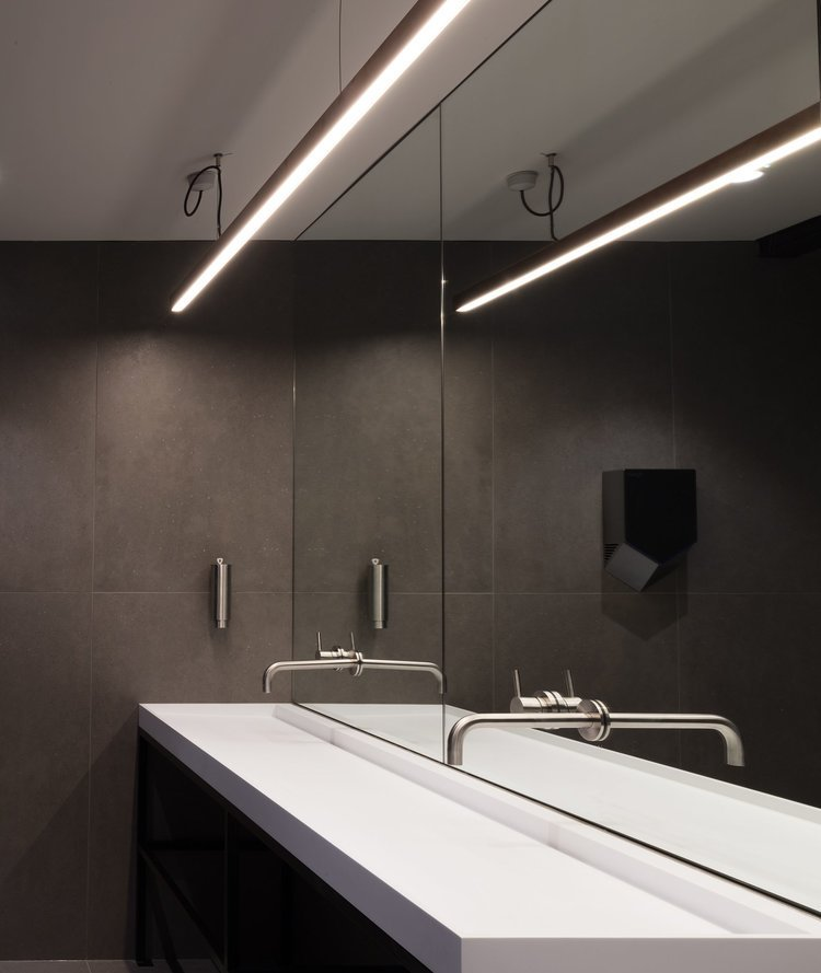 Shower rooms at Goswell Road in Clerkenwell, London.(Courtesy of Nicholas Szczepaniak)