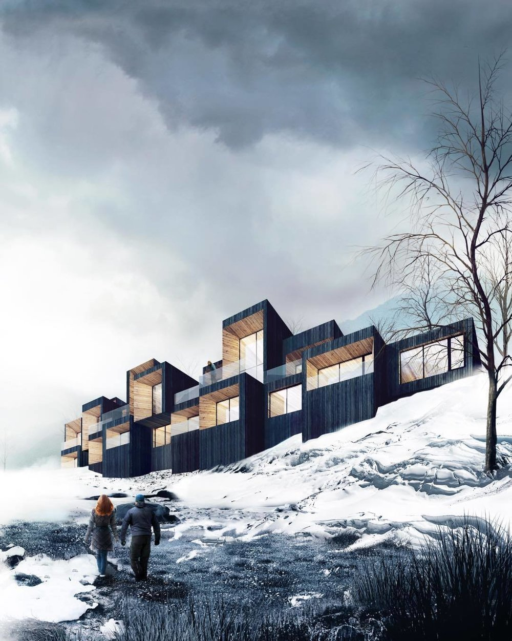 A high-end base camp boutique hotel in the works.(Courtesy of Saunders Architecture)