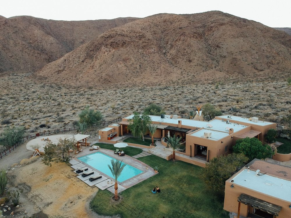 An aerial view of Melissa Young's desert hacienda. (Tim Melideo)