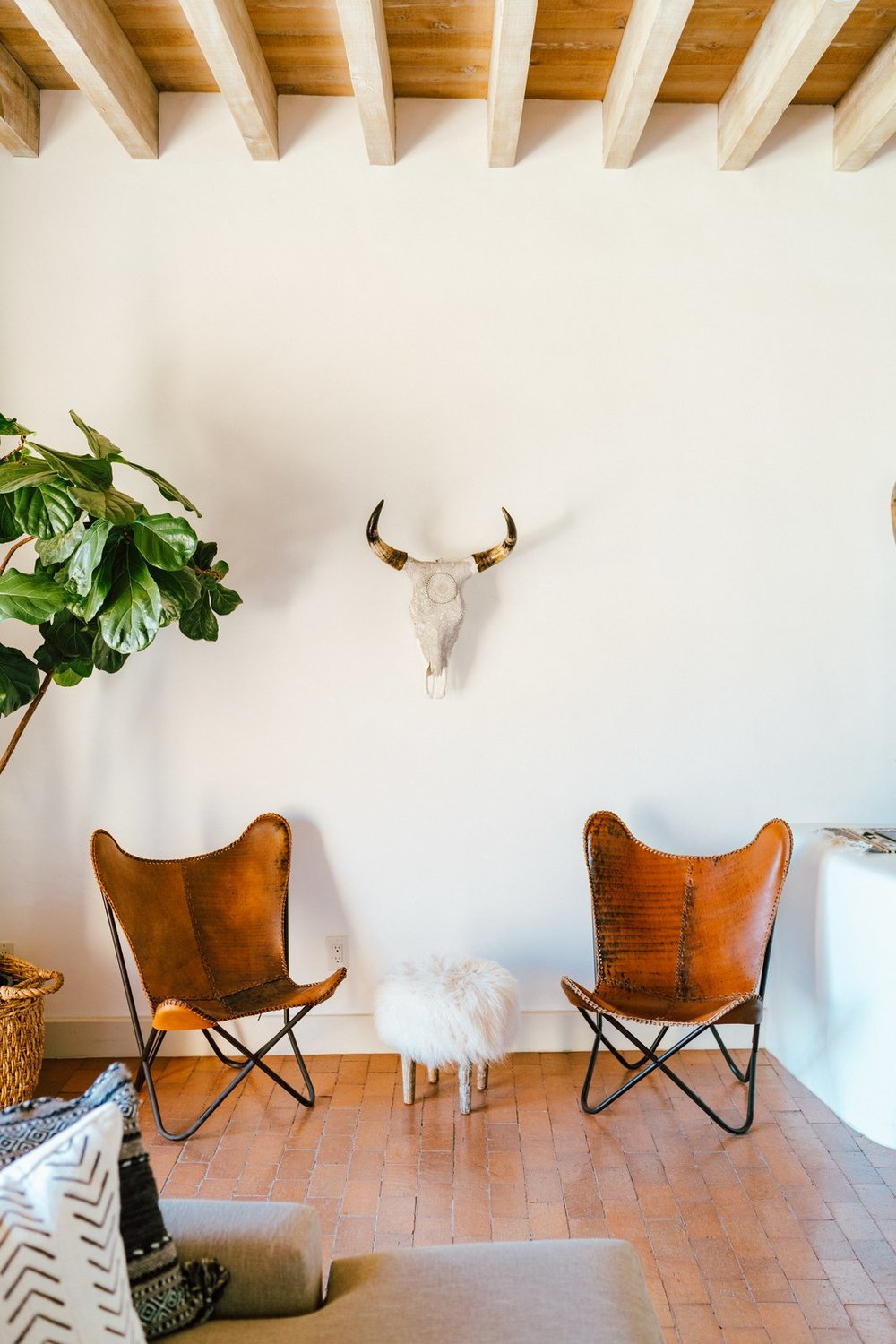 The 18-inch-thick adobe walls keep the house cool in the summer and cozy in the winter. An animal-themed nook situated next to a fiddle-leaf fig calls to mind a safari adventure. (Tim Melideo)