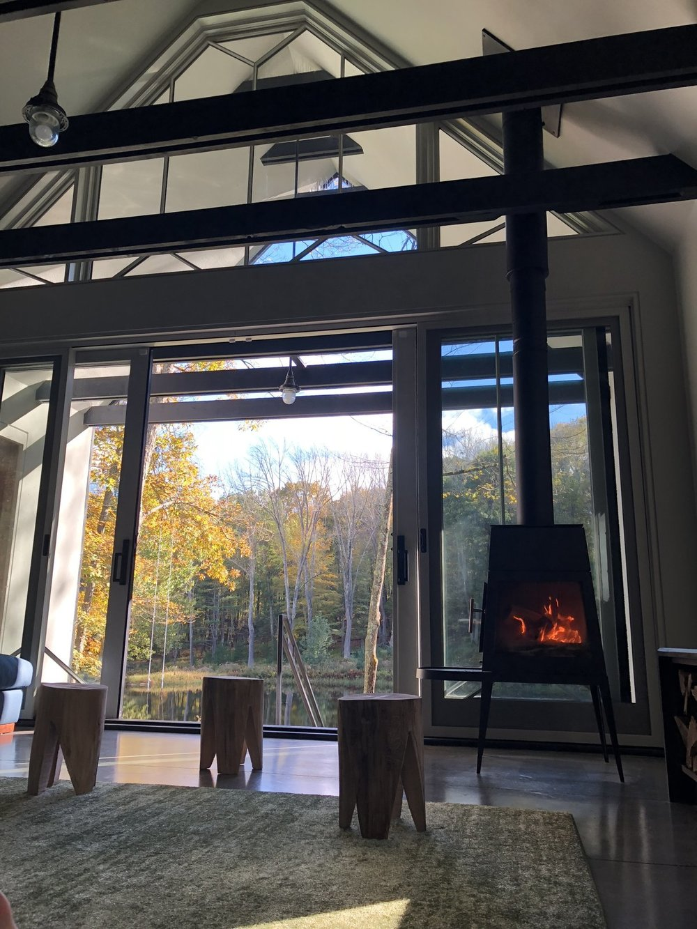 A glass wall opens up the indoor living area to the great outdoors. (Kyle Page)