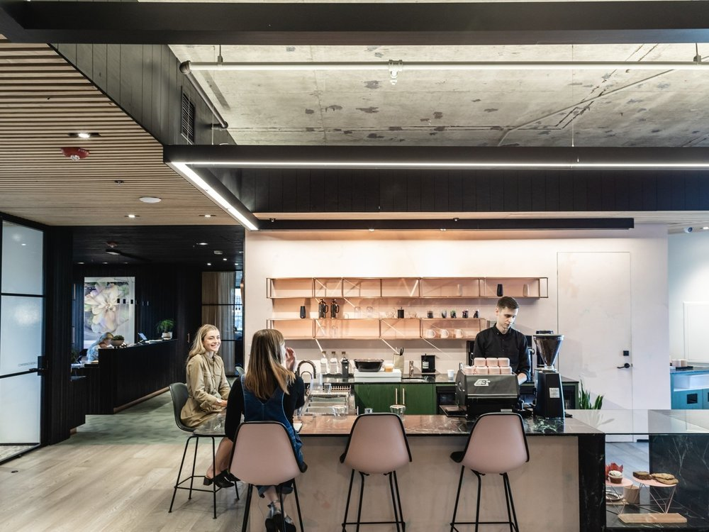 A blush-toned cafe by Jane stays at the ready for a caffeine fix or sweet treat. (Sothear Nuon)