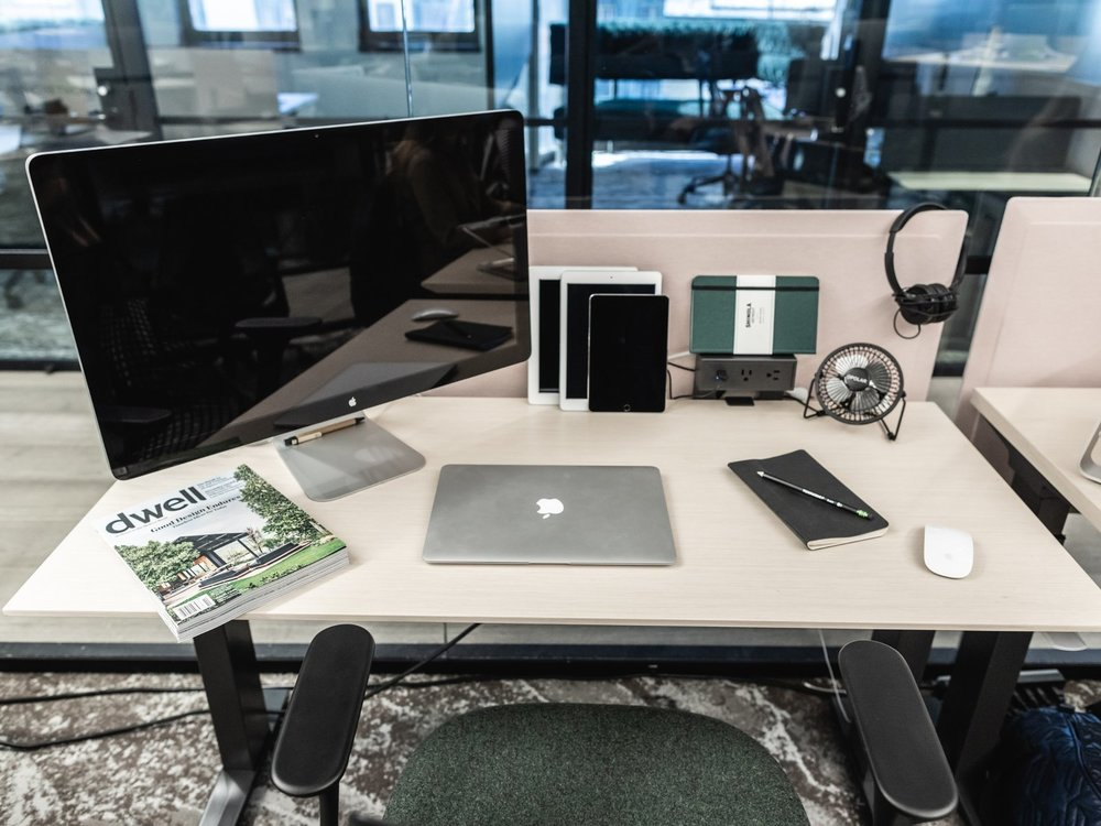 Desk scene from the Dwell office. (Sothear Nuon)