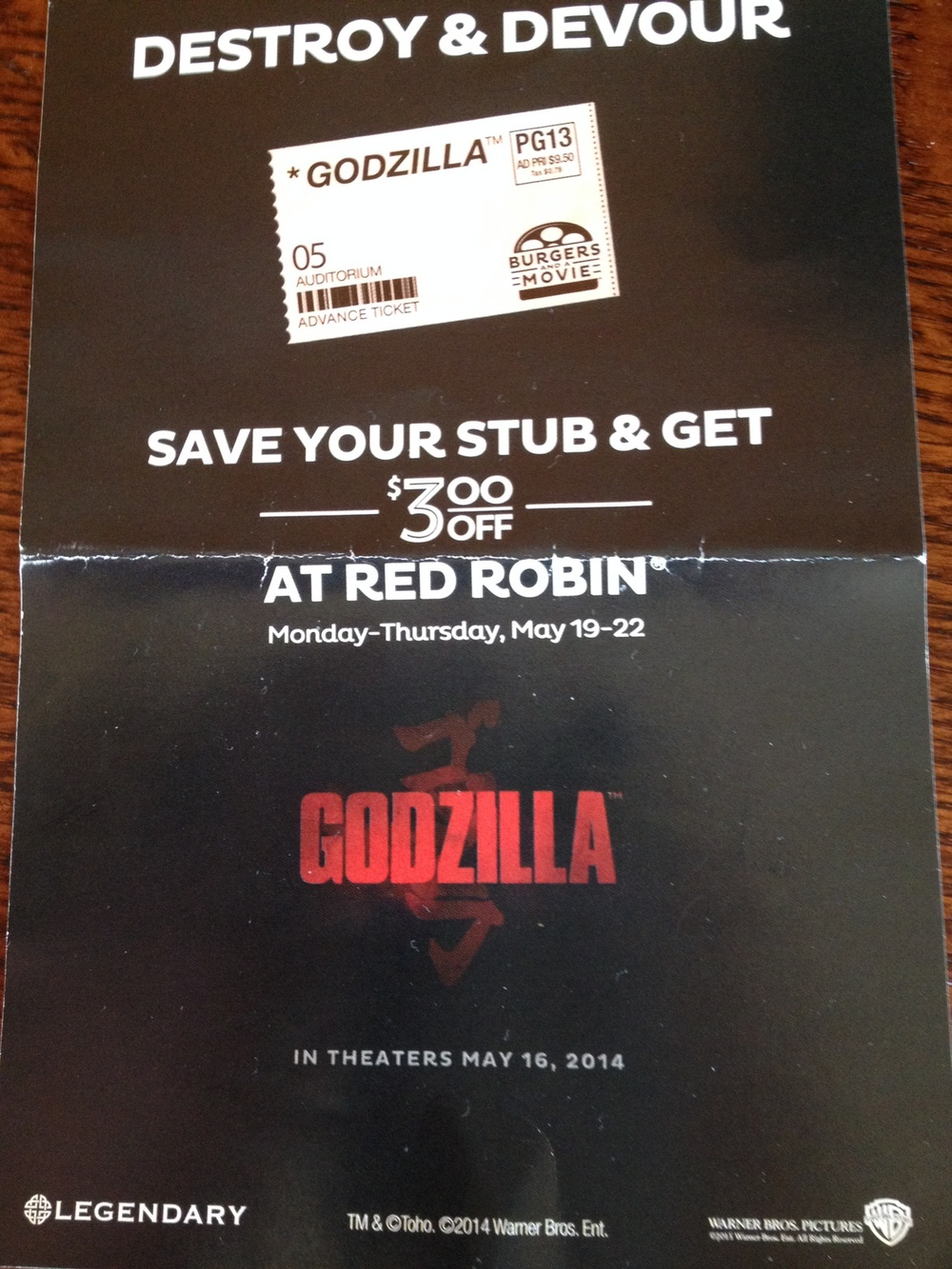 $3 off coupon for Red Robin...the best thing about seeing Godzilla