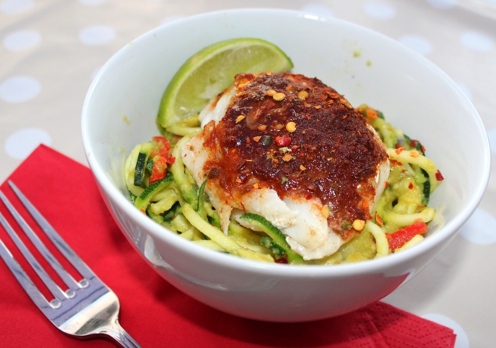 Cajun Baked Cod with Avocado Coodles