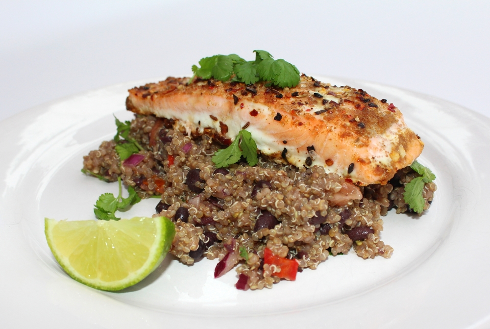 Spiced Salmon with Black bean Quinoa