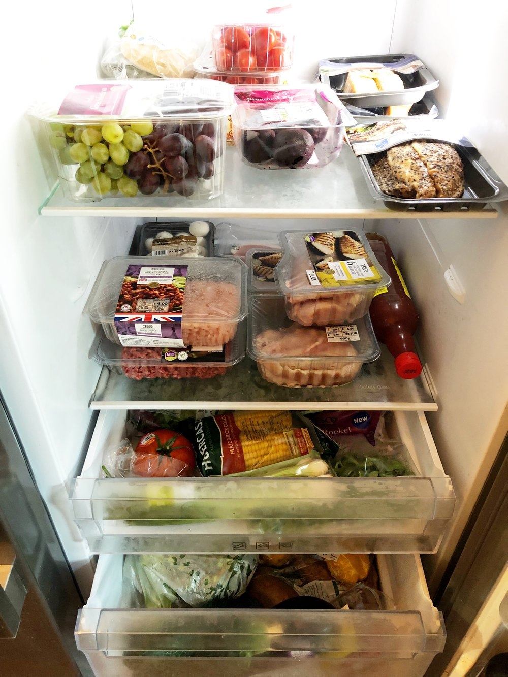 My fridge is fully stocked with healthy food!