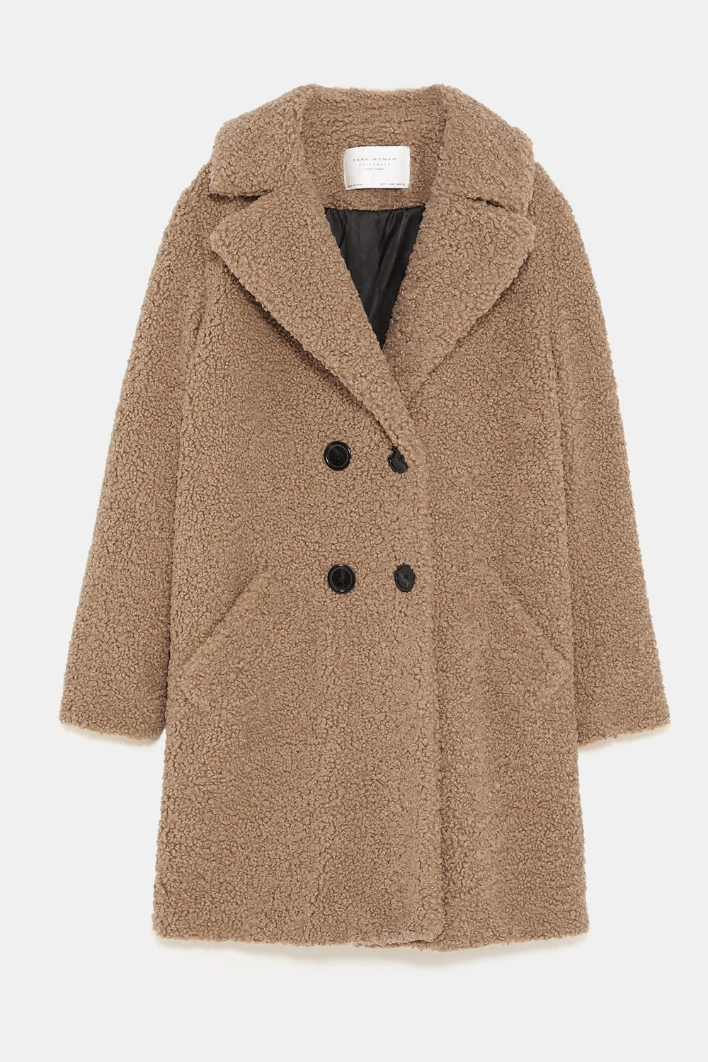 Textured Faux Shearling Coat, Zara, £89.99