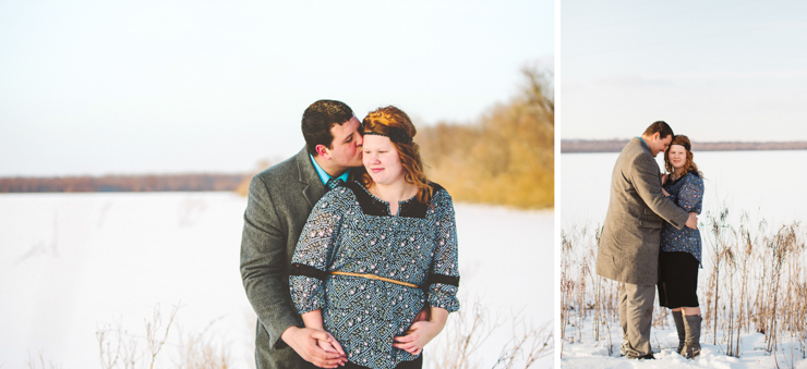 snowy engagement photography