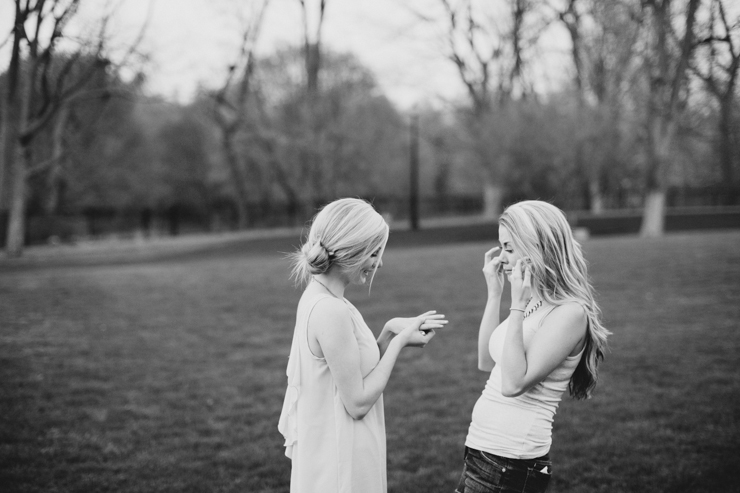 sisters after a surprise proposal