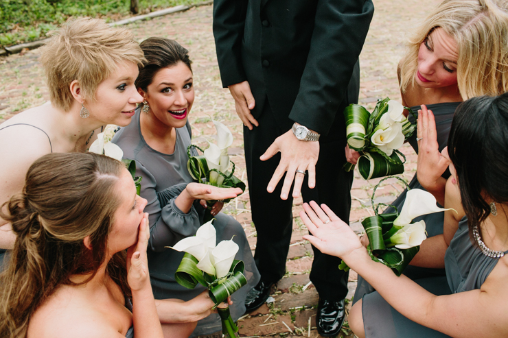 bridesmaids with groom and his rolex