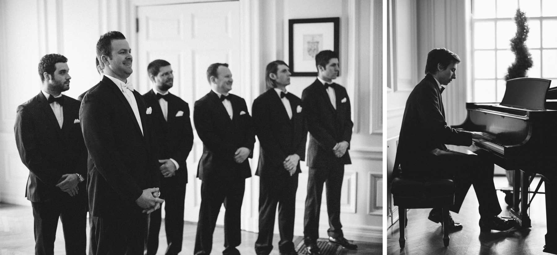 groom watching bride come down aisle