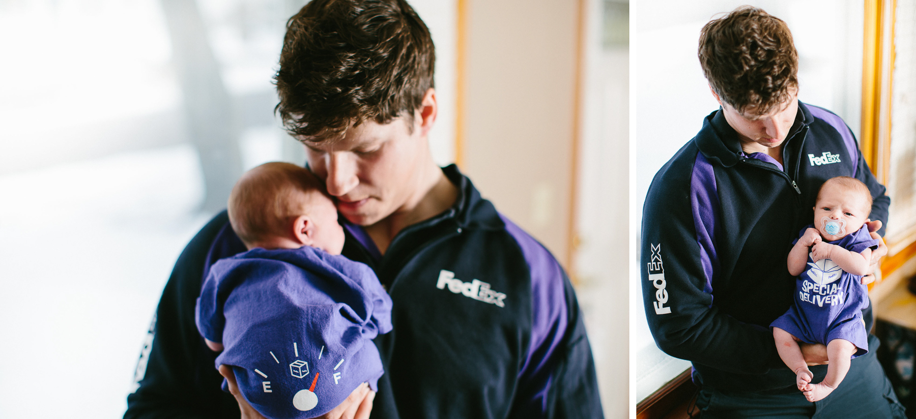 newborn baby with dad wearing fed ex