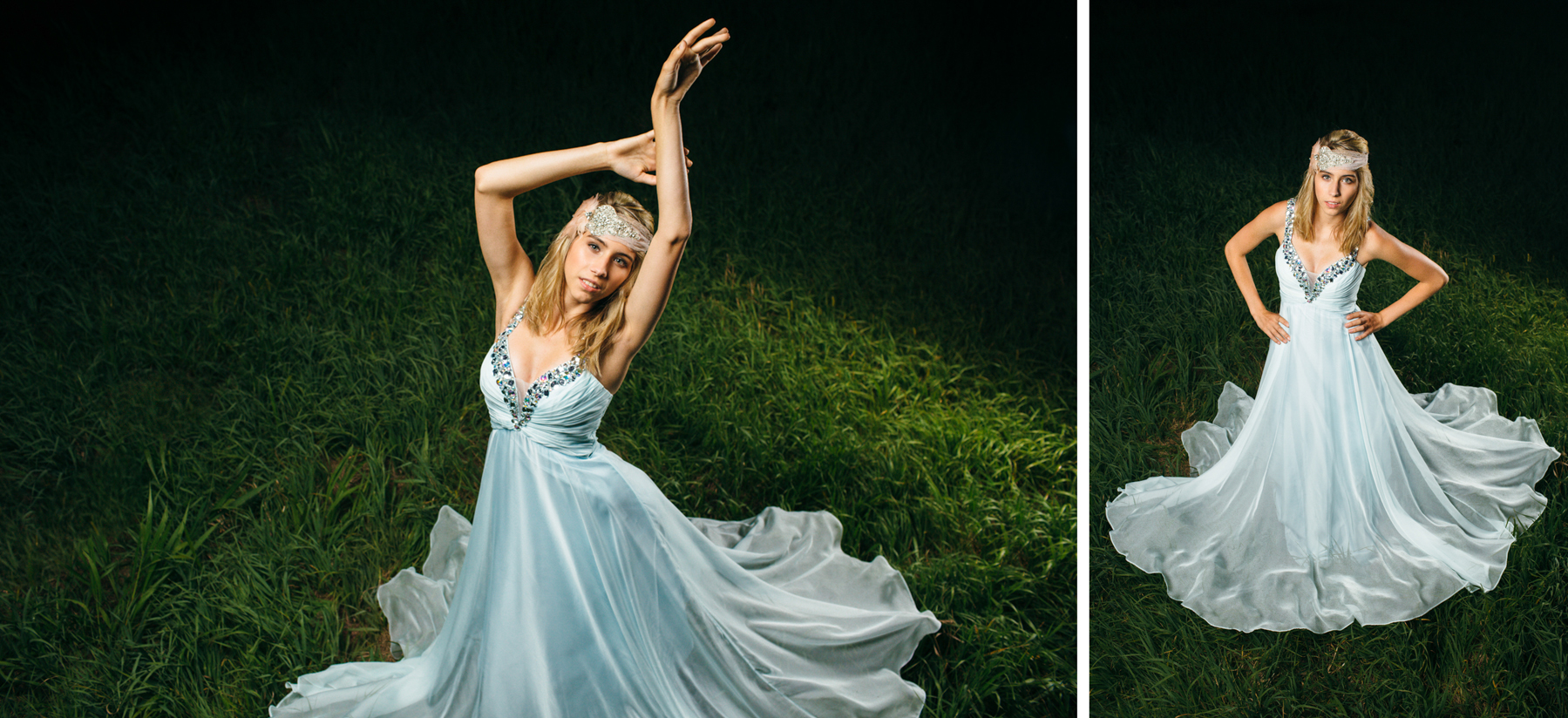 girl blue dress photography modeling with headpiece