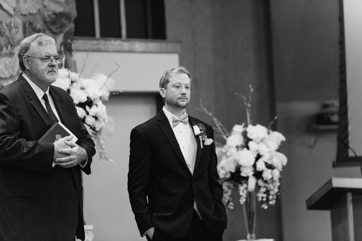 Groom seeing the bride for the first time during the ceremony