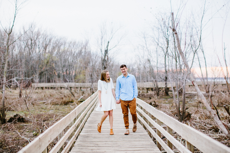 Engagement photography on the boardwalk in Peoira, Illinois