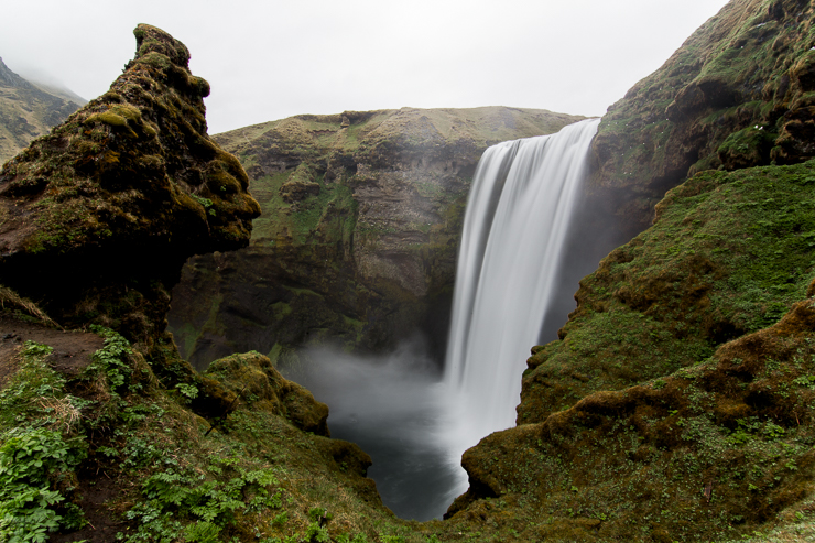 view from mid-way up at Skogafoss, Iceland