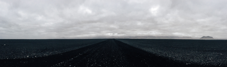 panorama of the black beach walk to Solheimasandur DC3 Wrecked US Navy Plane, Iceland