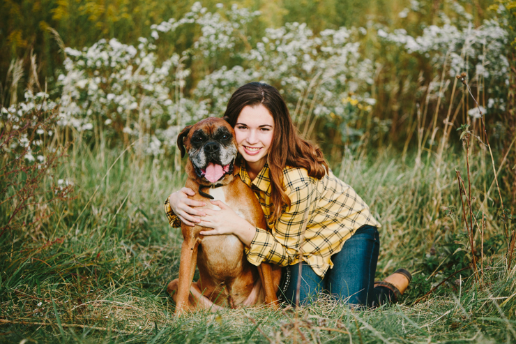 Senior Girl Photography Poses with dog by Meredith Washburn Peoria, Illinois