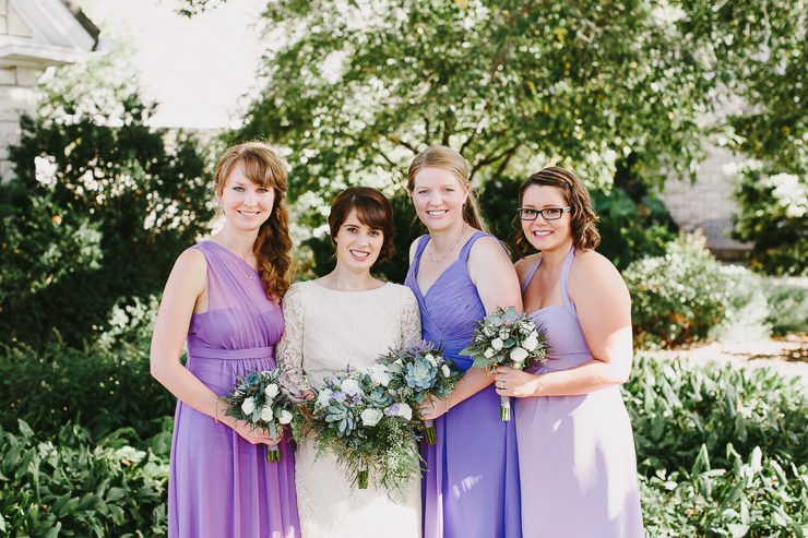 Bridal Party with Short Purple Garden Dresses