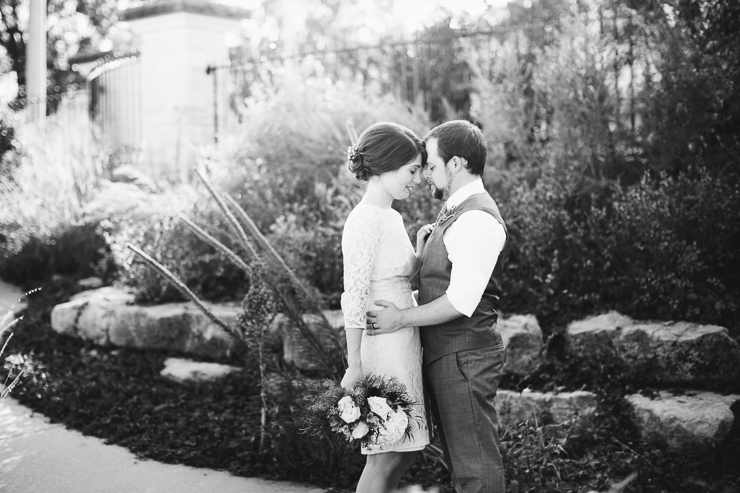 Bride and Groom Portraits outdoor garden Kansas City