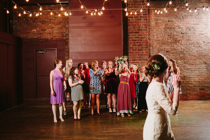 Bouquet Toss at wedding in Kansas City