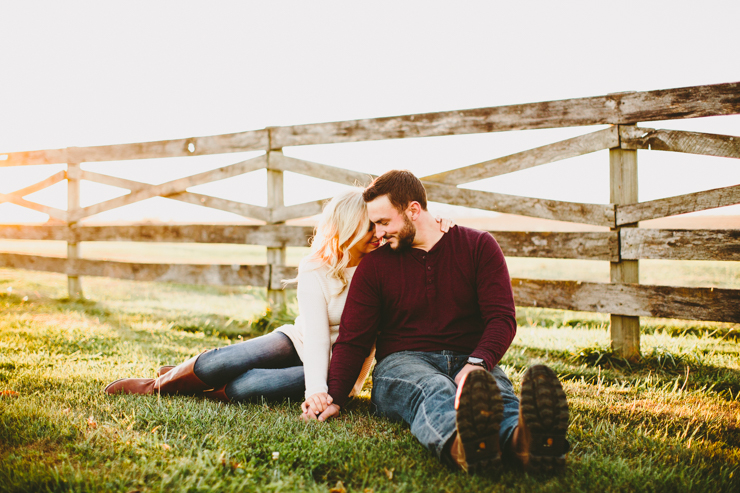 Nolan and Alyssa's Rustic Countryside engagement session at sunset