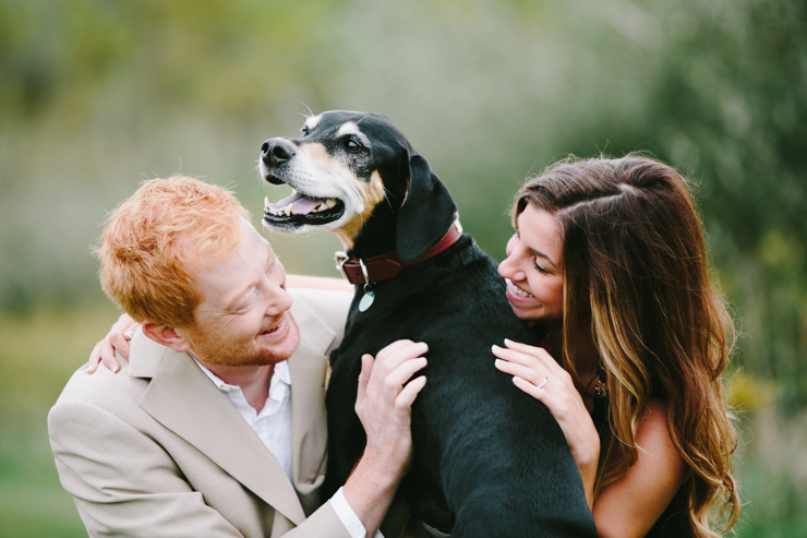 countryside engagement photos with their dog