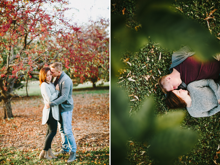 Engagement photos in cherry trees Peoria IL