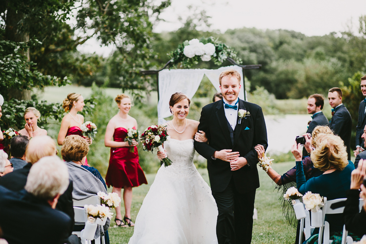Bride and Groom during outdoor ceremony Kickapoo Creek Winery, Edwards, IL
