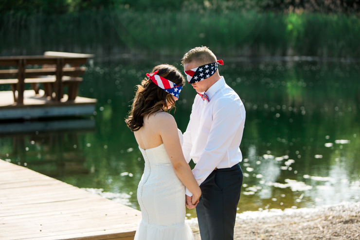 Bride and Groom blindfolded and praying before the ceremony
